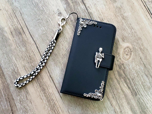 Skeleton skull phone leather wallet removable case cover for Apple / Samsung MN1036-icasecollections