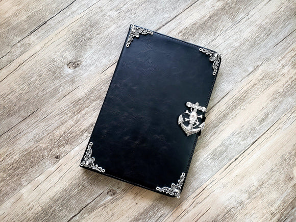 Skull anchor ipad leather case, handmade ipad cover for Apple MN0975-icasecollections