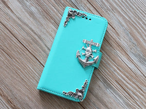 Skull anchor phone leather wallet removable case cover for Apple / Samsung MN0814-icasecollections