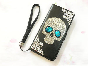 Skull handmade phone leather wallet case for Apple / Samsung MN0069-icasecollections