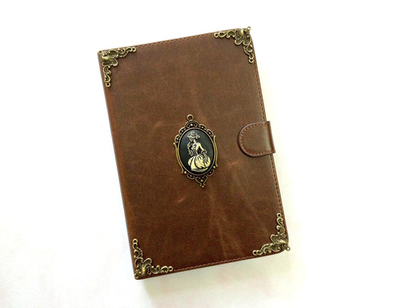 Skull lady iPad handmade leather stand case for Apple MN0279-icasecollections