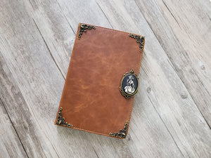 Skull lady ipad leather case, handmade ipad cover for Apple MN1031-icasecollections