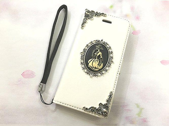 Skull lady leather wallet handmade phone case cover for Apple / Samsung MN0548-icasecollections