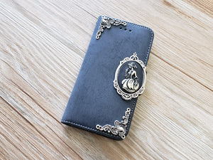 Skull lady phone leather wallet removable case cover for Apple / Samsung MN0885-icasecollections