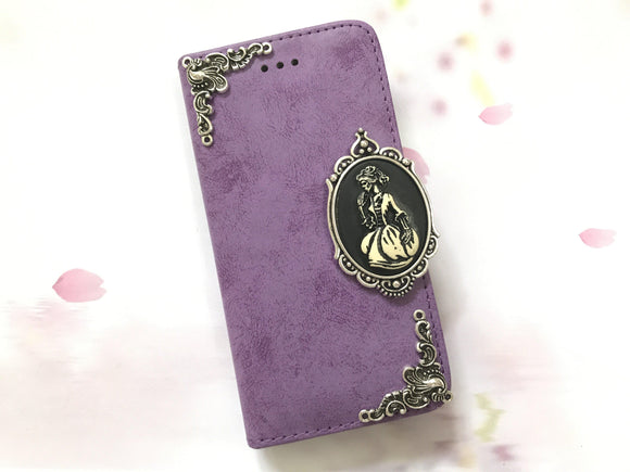 Skull lady phone leather wallet stand removable case cover for Apple / Samsung MN0620-icasecollections