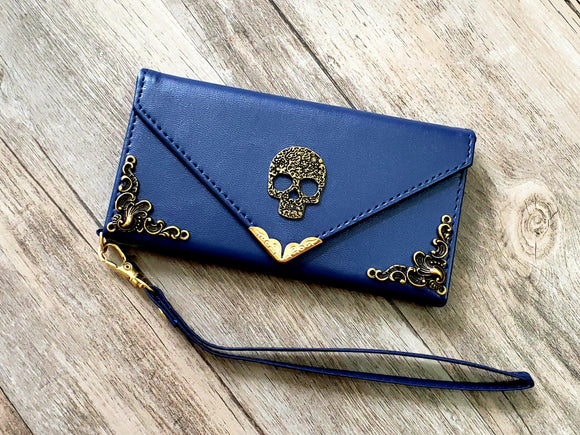Skull phone leather wallet case, handmade phone wallet cover for Apple / Samsung MN1097-icasecollections