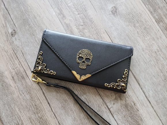 Skull phone leather wallet case, handmade phone wallet cover for Apple / Samsung MN1161-icasecollections
