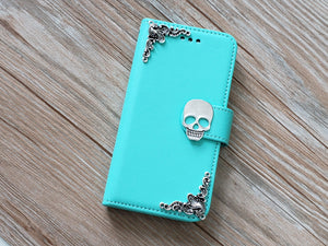 Skull phone leather wallet removable case cover for Apple / Samsung MN0817-icasecollections
