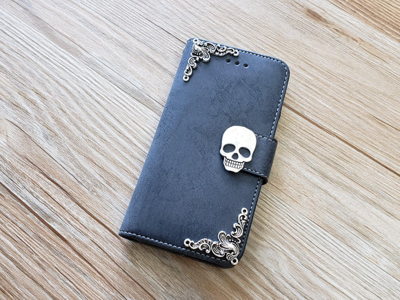 Skull phone leather wallet removable case cover for Apple / Samsung MN0894-icasecollections