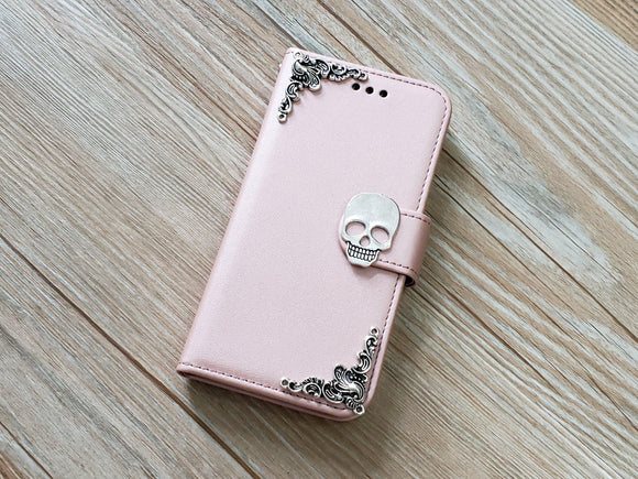 Skull phone leather wallet removable case cover for Apple / Samsung MN0908-icasecollections
