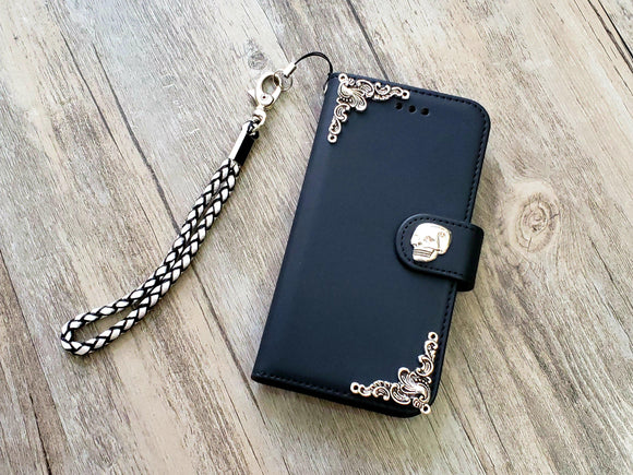 Skull phone leather wallet removable case cover for Apple / Samsung MN1048-icasecollections