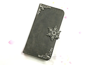 Snowflake leather wallet handmade phone case cover for Apple / Samsung MN0611-icasecollections