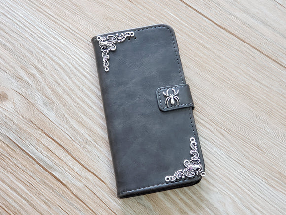 Spider leather wallet handmade phone case cover for Apple / Samsung MN0760-icasecollections