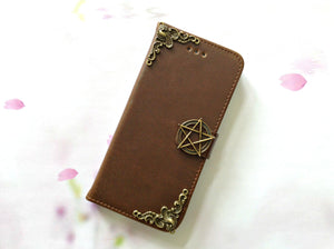 Star handmade phone leather wallet case for Apple / Samsung MN0085-icasecollections