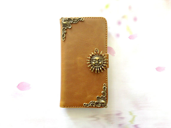 Sun handmade phone leather wallet case for Apple / Samsung MN0266-icasecollections