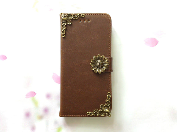 Sunflower handmade phone wallet case for Apple / Samsung MN0080-icasecollections