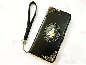 Tree handmade phone leather wallet case for Apple / Samsung MN0067-icasecollections