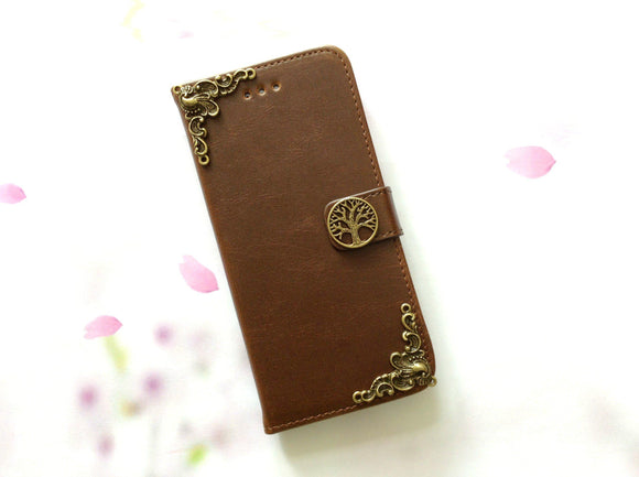 Tree handmade phone leather wallet case for Apple / Samsung MN0083-icasecollections