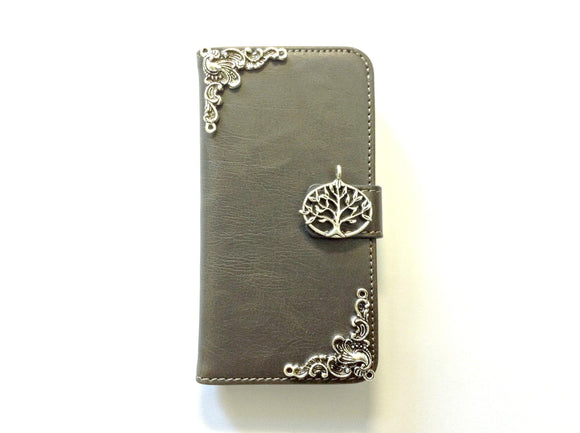 Tree handmade phone leather wallet case for Apple / Samsung MN0136-icasecollections