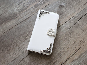 Trinity Celtic Knot leather wallet handmade phone case cover for Apple / Samsung MN0935-icasecollections