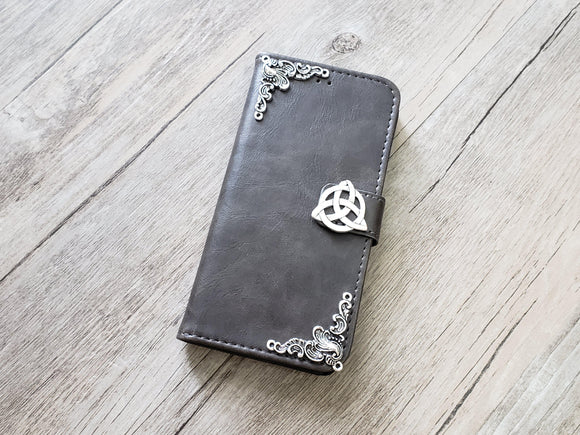 Trinity Celtic Knot leather wallet handmade phone case cover for Apple / Samsung MN0955-icasecollections