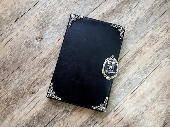 Twin skull ipad leather case, handmade ipad cover for Apple MN0985-icasecollections