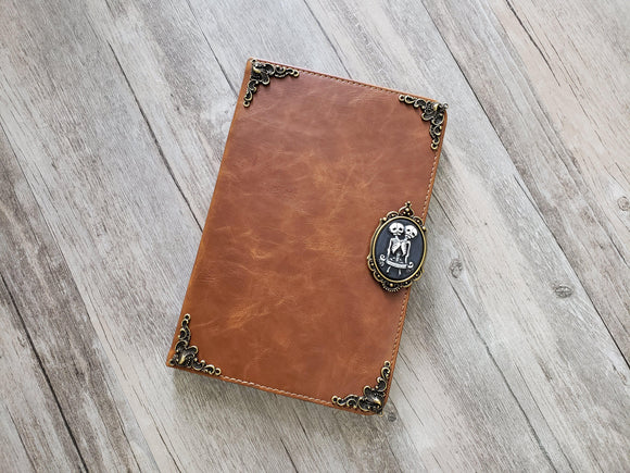 Twin skull ipad leather case, handmade ipad cover for Apple MN1043-icasecollections