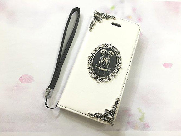 Twin skull leather wallet handmade phone case cover for Apple / Samsung MN0552-icasecollections