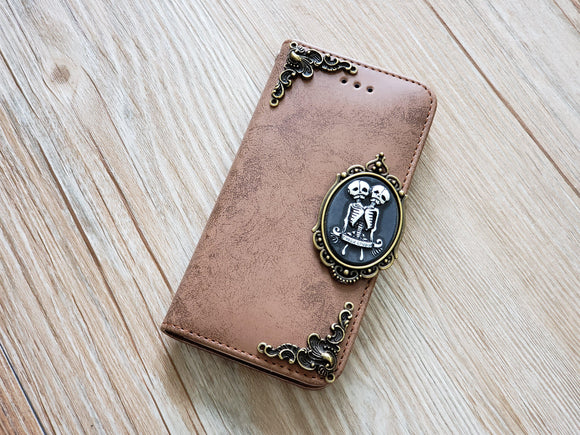 Twin skull phone leather wallet removable case cover for Apple / Samsung MN0833-icasecollections