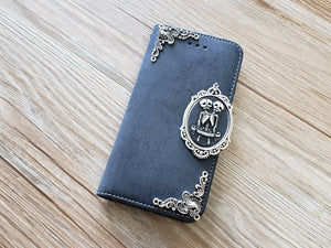 Twin skull phone leather wallet removable case cover for Apple / Samsung MN0888-icasecollections