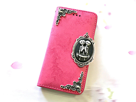 Twin skull phone leather wallet stand removable case cover for Apple / Samsung MN0641-icasecollections