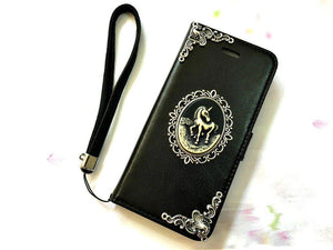 Unicorn handmade phone leather wallet case for Apple / Samsung MN0064-icasecollections