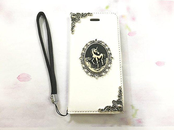 Unicorn leather wallet handmade phone case cover for Apple / Samsung MN0549-icasecollections