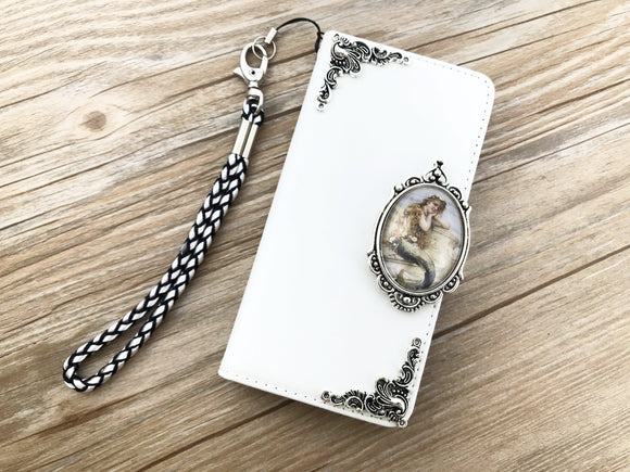 Vintage victorian mermaid leather wallet handmade phone case cover for Apple / Samsung DC035-icasecollections