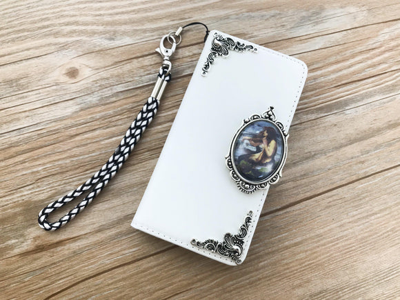 Vintage victorian mermaid leather wallet handmade phone case cover for Apple / Samsung DC036-icasecollections