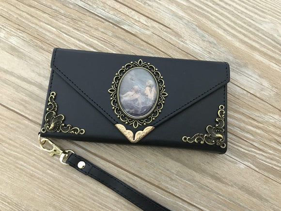 Vintage victorian mermaid phone leather wallet case, handmade phone wallet cover for Apple / Samsung DC002-icasecollections