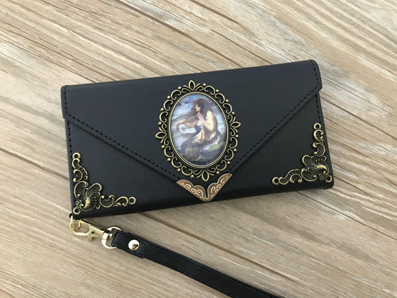 Vintage victorian mermaid phone leather wallet case, handmade phone wallet cover for Apple / Samsung DC003-icasecollections