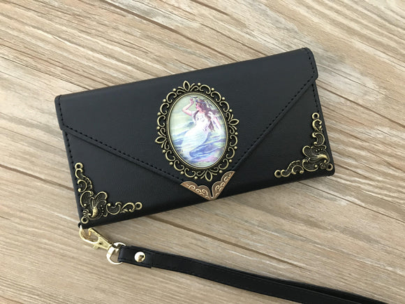 Vintage victorian mermaid phone leather wallet case, handmade phone wallet cover for Apple / Samsung DC004-icasecollections
