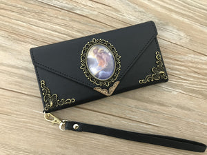 Vintage victorian mermaid phone leather wallet case, handmade phone wallet cover for Apple / Samsung DC005-icasecollections