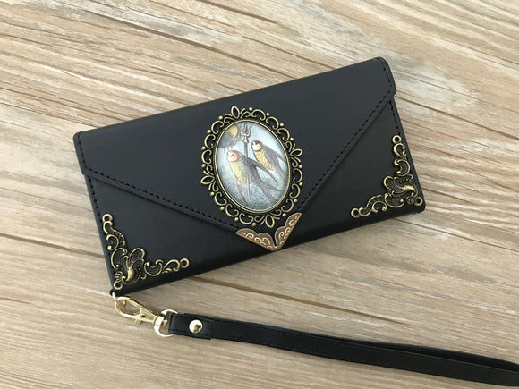 Vintage victorian mermaid phone leather wallet case, handmade phone wallet cover for Apple / Samsung DC006-icasecollections