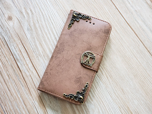 Vitruvian Man phone leather wallet removable case cover for Apple / Samsung MN0822-icasecollections