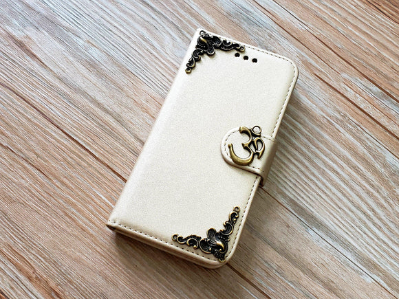 Yoga Om Aum Symbol phone leather wallet removable case cover for Apple / Samsung MN0921-icasecollections