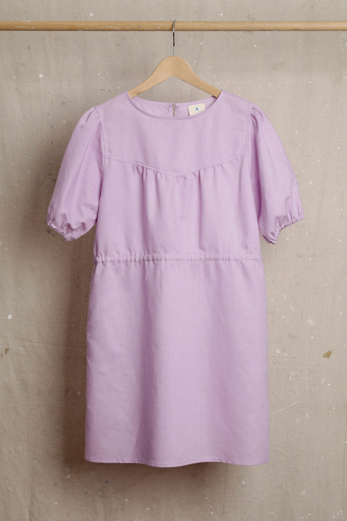 Audrey Shift Linen Dress - Lilac