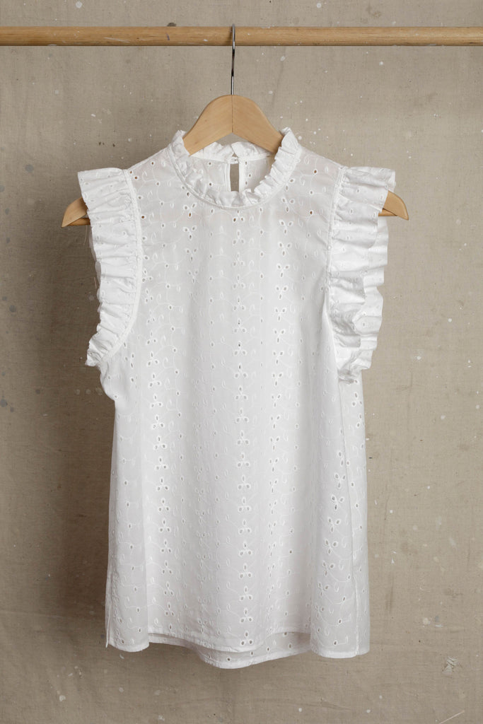 Edith Ruffle Blouse - Broderie Anglaise