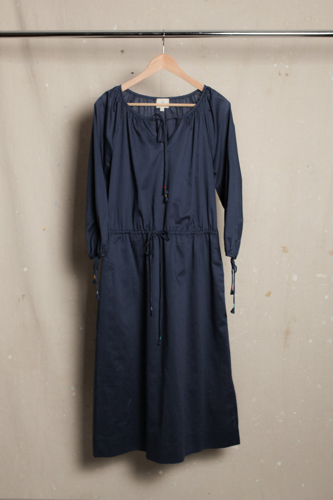 Flora Peasant Dress - Mid-Blue Cotton Voile