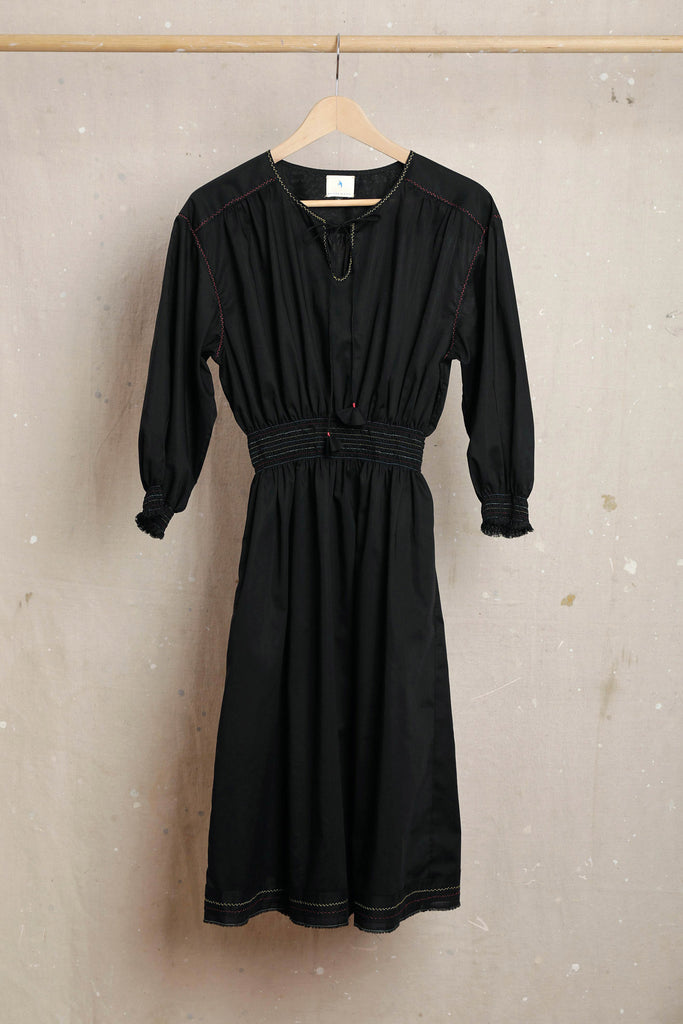 Olga Cotton Peasant Dress - Black