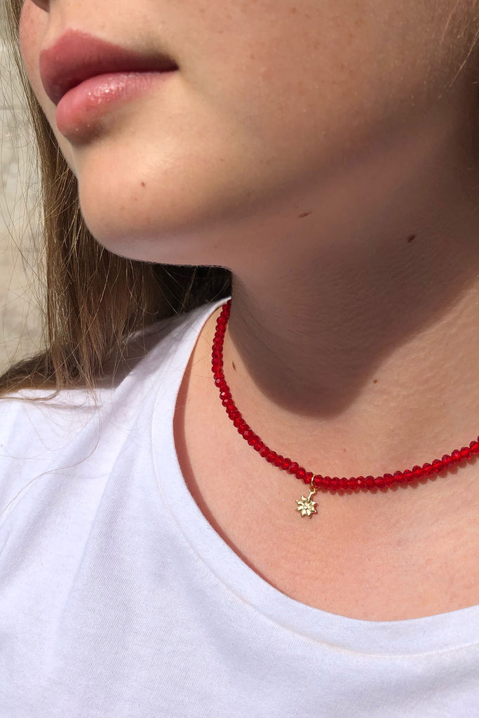 Glass Bead Gold Charm Choker