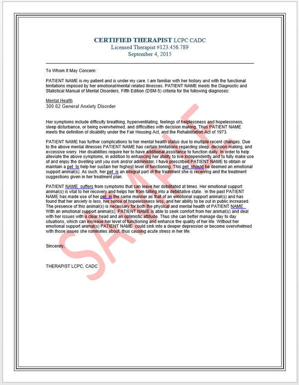Therapist Reference Letter For Emotional Support Animals Esa Airli Free My Paws