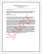 Load image into Gallery viewer, Travel & Housing Therapist Reference Letter for Psychiatric Service Dogs (PSD)
