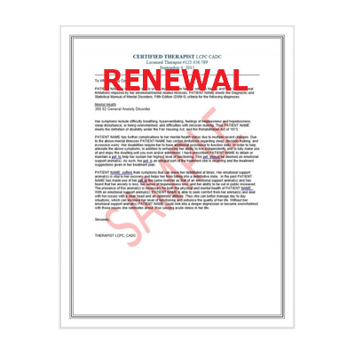 RENEWAL - Therapist Reference Letter for Emotional Support Animals (ESA)